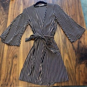 Faithfull the Brand Pinstripe Wrap Dress